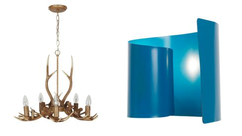 Antler chandelier, €151, Next. Curved metal table lamp, €70, Bright Lights, Long Mile Road