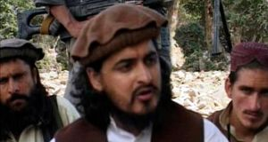 Pakistani Taliban chief Hakimullah Mehsud (C) sits with other militants in South Waziristan, in this file still image taken from video shot in October, 2009. Photograph: Reuters TV.