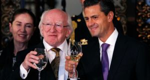 President Higgins with his Mexican counterpart Enrique Pena Nieto, at the National Palace in Mexico City.