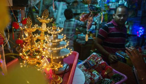 Diwali trinkets at a store in the Sarojini Market in New Delhi, India. Photograph: Prashanth Vishwanathan/Bloomberg