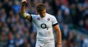 England's Owen Farrell celebrates his try   at Twickenham. Photograph: Darren Staples/Reuters