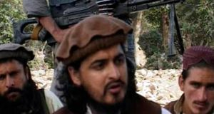 A file image of Pakistani Taliban chief Hakimullah Mehsud with other militants in south Waziristan, in this still image taken from video shot October 4th, 2009. Photograph: Reuters