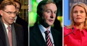 Enda Kenny (centre) has been repeatedly linked with the role of European Council president. Other front-runners are thought to include the prime minister of Finland Jyrki Katainen (left) and Danish prime minister Helle Thorning-Schmidt