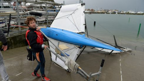 Graeme Grant of Howth Yacht Club took his Moth class dinghy for a sail in Howth on Saturday despite extreme wind which led to the abandonment of racing on day one of the first Moth Open event in Ireland. Photograph: Frank Miller / The Irish Times