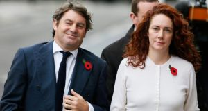 Former News International chief executive Rebekah Brooks and her husband Charlie arrive at the Old Bailey courthouse in London last Friday. Photograph: Reuters/Stefan Wermuth