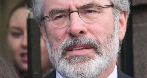 Sinn Féin president Gerry Adams: denies he was a senior IRA figure at the time of the murder of Jean McConville in 1972 and that he ordered her disappearance. Photograph: Gareth Chaney/Collins