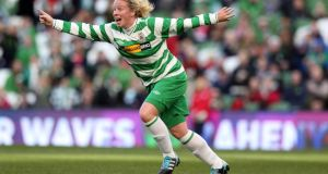 Castlebar Celtic's Emma Mullen celebrates during the cup final. Photograph: Donall Farmer/Inpho