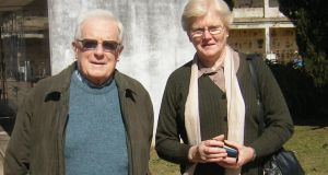 Dickie and Tessie Kelly in the graveyard in Mercedes where Alfredo Jose Kelly is buried