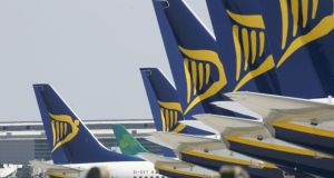 Ryanair said net income for the year would be between €500 and €520 million, having previously guided €570 million. The malaise in airline shares across Europe sparked by the Ryanair announcement also dragged down Aer Lingus, which slipped more than 8 per cent ahead of a trading update. Photograph: Alan Betson