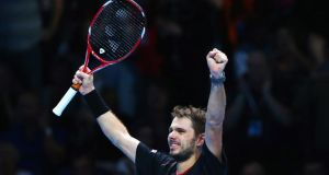 Stanislas Wawrinka of Switzerland celebrates after beating Tomas Berdych of the Czech Republic during day one of the Barclays ATP World Tour Finals at the O2 Arena  in London. Photograph: Julian Finney/Getty Images