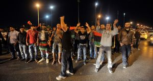Anti-government protesters demonstrate against bombings and assassinations in Benghazi on Monday. Photograph: Esam Omran Al-Fetori/Reuters