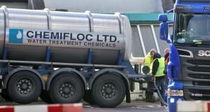 Workers deliver water treatment chemicals to the Ballymore Eustace Water Treatment Plant in Co. Wicklow last week. Photograph: Collins