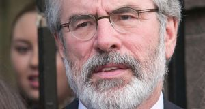 Gerry Adams has had ample opportunity to end this corrosive fiction. There is now little hope that he will ever do so. He should withdraw gracefully and take Joe McGuigan with him. Photograph: Gareth Chaney/Collins