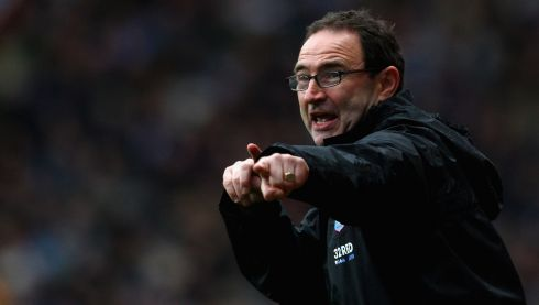 The then Aston Villa manager Martin O'Neill points the way during a December 2008 Barclays Premier League match between his team and Portsmouth at Villa Park. FAI chief executive John Delaney said today that Martin O'Neill will be unveiled as the Irish team's new manager this Saturday  Photograph: Laurence Griffiths/Getty Images