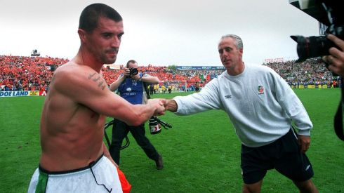 A picture paints a thousand words...Mick McCarthy shakes hands with Roy Keane at Lansdowne Road in September 2001. Photograph: Lorraine O'Sullivan/Inpho