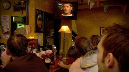 Customers in Chaplins Pub watch the Roy Keane Interview on RTE News in May 2002 following the Saipan debacle. Photograph: David Sleator/The Irish Times