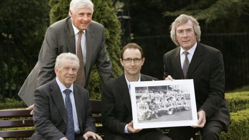 From right: ,Johnny Giles, Martin O'Neill, Don Givens and Pat Jennings.  The All Ireland 'Shamrock Rovers Xl' was honoured at a reception in the Radisson Hotel Dublin in 2008.  Photograph: Dara Mac Dónaill/The Irish Times