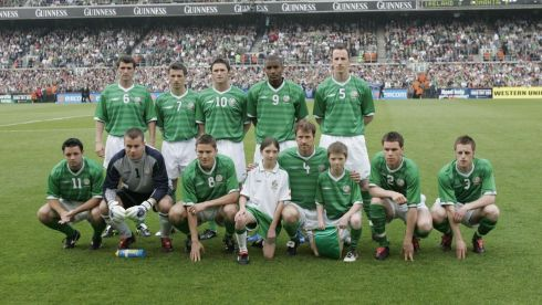 The  Rep. of Ireland team photographed ahead of a friendly international against Romania at Lansdowne Road in May 2004. Photograph: Dara Mac Dónaill/The Irish Times