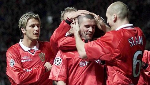 Manchester United's Roy Keane (centre) celebrates with Jaap Stam and David Beckham after scoring during Manchester United's Group B Champions League clash against AC Fiorentina at  Old Trafford in March 2000. Photograph: PA