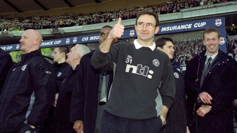 Thumbs up from Celtic manager Martin O'Neill after the Scottish CIS Insurance Cup Final against Kilmarnock played at Hampden Park, in Glasgow, Scotland. Celtic won the match 3-0. Photograph: Jamie McDonald/Allsport