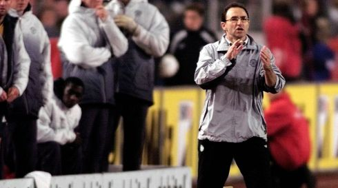 Celtic manager Martin O'Neill encourages his team against Vtb Stuttgart, during a Uefa Cup 4th Round 2nd leg match at Stadion Aktuell, Stuttgart, Thursday 27th, in February 2003. Photograph: Gareth Copley/PA