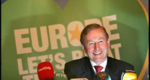 Enda Kenny  at the launch of Fine Gael's referendum campaign on the Lisbon Treaty in 2008. Photograph: Brenda Fitzsimons