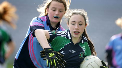 Amelia Rodgers of Loreto Primary School with Meadbh Ni Fheinneadha of Holy Trinity National School in Croke Park today. Photograph: Morgan Treacy/INPHO