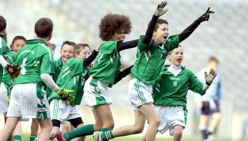 Adam Djellabi and Dara Byrne of Clonburris NS celebrate at the final whistle during the Allianz Cumann na mBunscol football finals in Croke Park today. Photograph: Morgan Treacy/INPHO