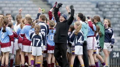 Danny Keenan, PE teacher with St Brigids GNS celebrates in Croke Park today. Photograph:  Morgan Treacy/INPHO