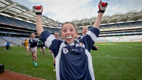 Cassie Sultan of Mount Anville Primary School celebrates in Croke Park today. Photograph:  Morgan Treacy/INPHO