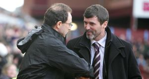 The Dream Team: Martin O'Neill greets Roy Keane during their Premier League days in 2008.