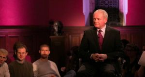 "Northern Ireland's Deputy First Minister Martin McGuinness who told the Oxford Union last night that he was ""absolutely prepared to say sorry to people whose lives I have affected"". Photograph: Daniel Ming/Al Jazeera"