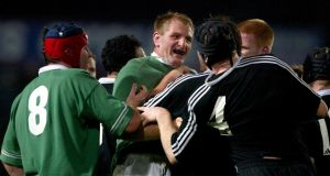 Gary Longwell of Ireland gets up close and personal in Timaru in 2002