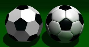 A football and the geometric shape on which it is based, a truncated icosahedron with 20 hexagons and 12 pentagons
