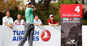Tiger Woods  hits his tee shot on the fourth hole during the pro-am ahead of the  Turkish Airlines Open  in Antalya. Photograph: Dean Mouhtaropoulos/Getty Images