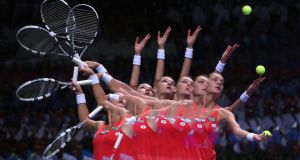 A multiple exposure of Agnieszka Radwanska of Poland serving at a matchin Turkey last year. Photograph: Julian Finney/Getty Images