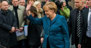 German Chancellor Angela Merkel, head of the Christian Democratic Union: within the troika the argument is made  Dr Merkel's caretaker government has no mandate to agree on a credit line and her incoming coalition would have to consider the terms on which any credit line is granted. Photograph: 	Reuters