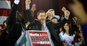 Marty Walsh at his election-night rally following his victory in Boston. Photograph: Gretchen Ertl/The New York Times