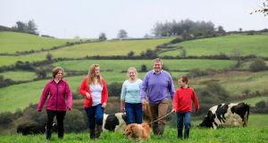 Alan and Valerie Kingston, owners of Glenilen Farm, with their children, Sally (12), Grace (10) and Ben (7), at their family farm. Photographs:Emma Jervis