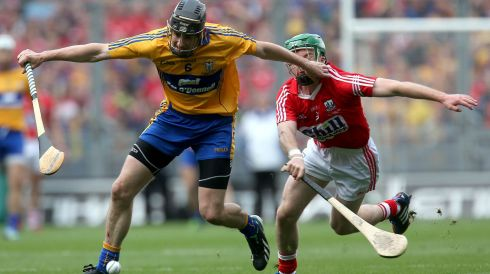 2013 GAA/GPA Hurling All-Star No 7:  Patrick Donnellan of Clare in action against Cork during the first Hurling All Ireland Senior Championship Final in Croke Park. Photograph: Ryan Byrne/Inpho