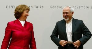 European Union foreign policy chief Catherine Ashton with Iranian Foreign Minister Mohammad Javad Zarif before the start of two days of closed-door nuclear talks at the United Nations European headquarters in Geneva. Photograph: Denis Balibouse/Reuters