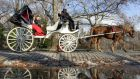 "Democratic candidate for the New York mayoralty Bill de Blasio said he would ban horse-drawn carriages from Central Park ark ""within the first week on the job"". Photograph: Don Emmert/AFP/Getty Images)"