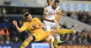Tottenham Hotspur's Erik Lamela (centre) shoots  on goal against Sheriff Tiraspol's  at White Hart Lane. Photograph: Nick Potts/PA Wire