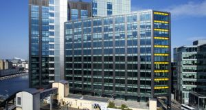 Montevetro building on Barrow Street, Dublin's tallest commercial building.  The docklands strategic development zone will give council planners the power to make decisions that could not be appealed to An Bord Pleanála, including the power to grant permission for structures 50 per cent higher than Dublin's current tallest building. Photograph: Treasury Holdings