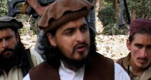 Pakistani Taliban chief Hakimullah Mehsud (c) sits with other militants in South Waziristan, in this file still image taken from video shot in 2009. A US drone strike in Pakistan killed Mehsud on November 1st, security sources told Reuters. Photograph: Reuters TV/Files