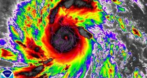 Typhoon Haiyan is seen over the Philippines in a NOAA satellite handout image taken today. Photograph: NOAA/Handout via Reuters