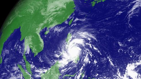 Typhoon Haiyan hits the Philippines in this weather satellite image, courtesy of the Japan Meteorological Agency, taken at 2.30 UTC today.  Photograph: Japan Meteorological/Reuters