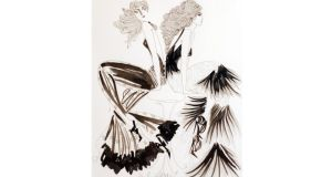 Fashion illustrator Jane Ryan has worked freelance in fashion as a knitwear designer for Colette Dinnigan in Sydney and as a textile designer for Matthew Williamson in London. Her illustration work has been published in Vogue in Australia and Image. Fringe, a pen and ink drawing, 51cm by 41cm, is one of several pieces reduced at Duke Street Gallery, (01-613 9005, dukestreetgallery.ie), 17 Duke Street, Dublin 2. Originally €190 it now costs €110 and comes in a wooden box frame. RP14BARGAIN2_PRINT