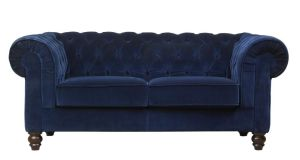 This chesterfield-style sofa, 190cm by 90cm by 70cm, by Mark Webster is upholstered in a polyester-nylon mix velour and is available in 20 colours. Seen below in a deep sapphire blue, it also comes in a deep jewel amethyst purple that will cheer up any sittingroom. It is reduced from €1,599 to €999 at Classic Furniture (01-2166110, classic furniture.ie), Beacon South Quarter, Dublin 18. Offer ends November 26th.