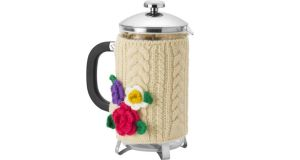 Keep coffee warm with an Aran knit cafetiere jacket, 30cm by 16cm, from Ulster Weavers. The fleece-lined design comes with a flower corsage and is reduced from €16.95 to €13.56 at all branches of the Kilkenny Shop (kilkennyshop.com). Also reduced are home fragrances by Orla Kiely. A primrose and bergamot candle is down from €29.95 to €23.96 and a rhubarb room diffuser, is similarly priced. Offers end November 17th at 4pm.